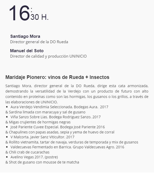 Insesctos comestibles en Enofusión 2019